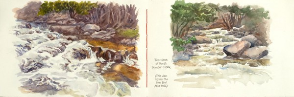 Two views of North Boulder Creek