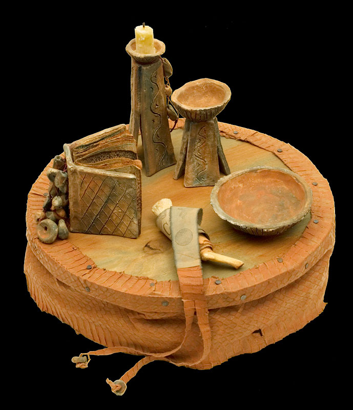 Altar, clay, leather, wood, bone, wax