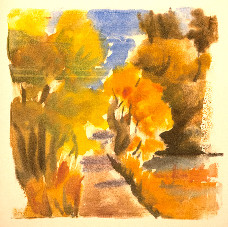 Autumn Walk, watercolor monotype