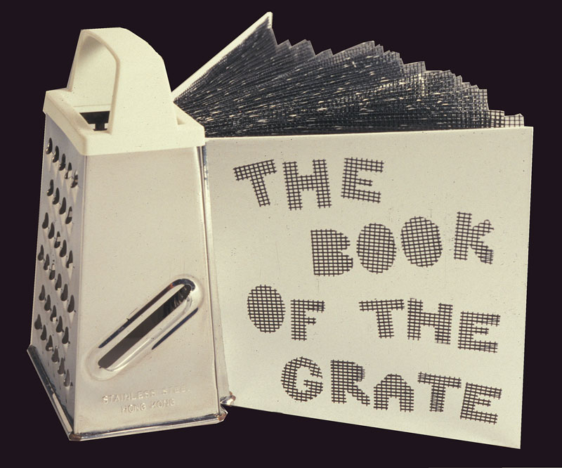Book of the Grate, metal grate, paper, plastic screen