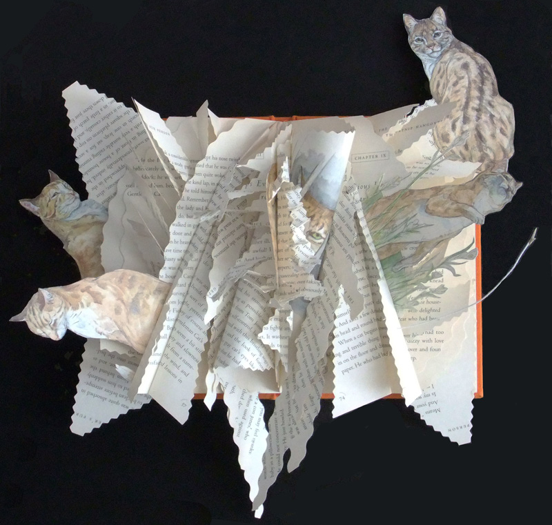 Cats Playing, altered book
