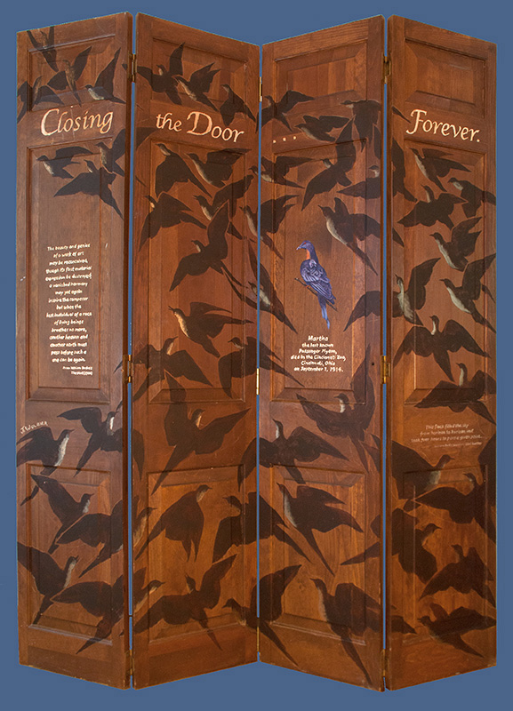Closing the Door Forever, acrylic and copper foil on recycled doors