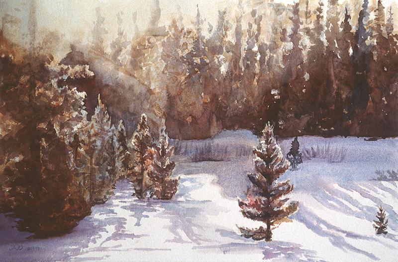 Colorado Sunrise, watercolor