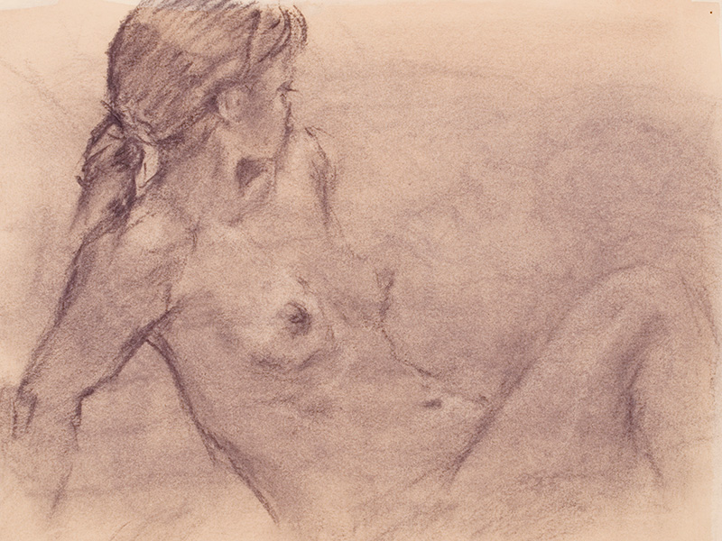 Female Nude, charcoal