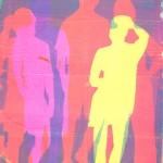Figures I, stencil print on gelatin plate