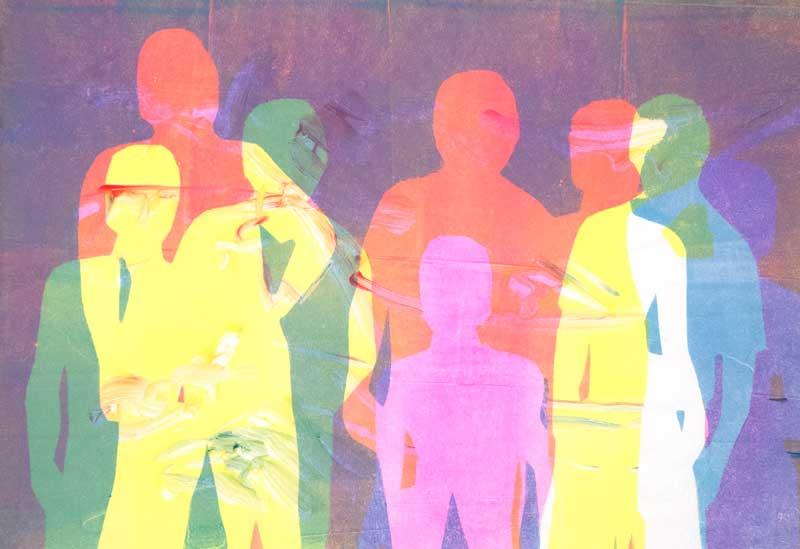 Figures II, stencil print on gelatin plate