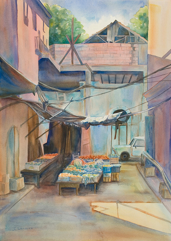 Jerusalem Market, watercolor