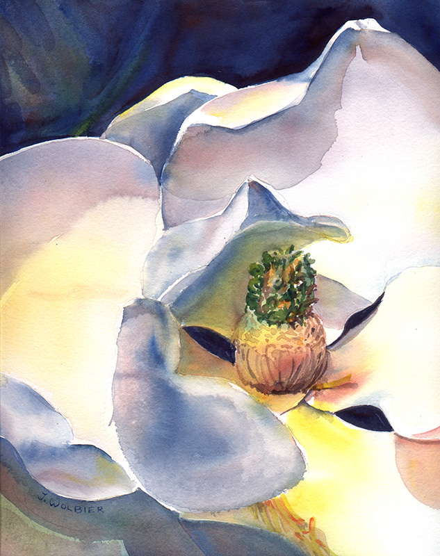 Magnolia, watercolor