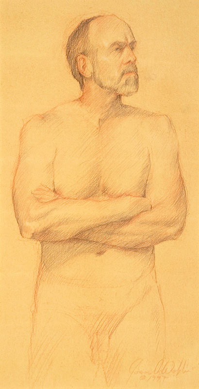 Male Nude, colored pencil on prepared paper