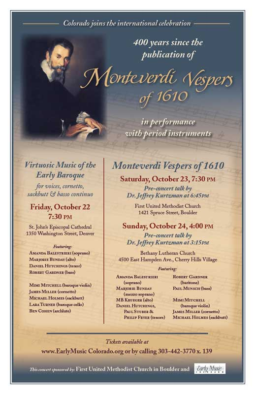 Monteverdi Poster, First United Methodist Church, Boulder, CO