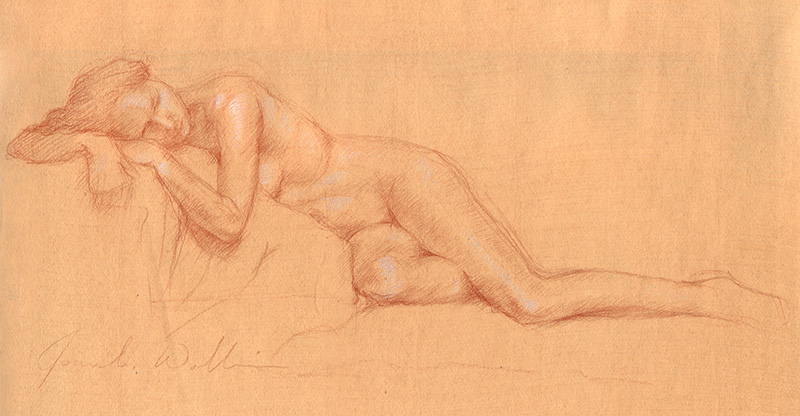 Reclining Nude, colored pencil on prepared paper