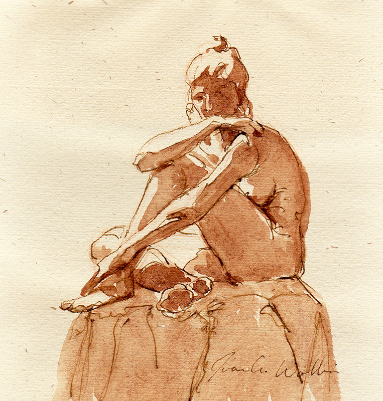 Seated Female Nude, pen and ink with ink wash