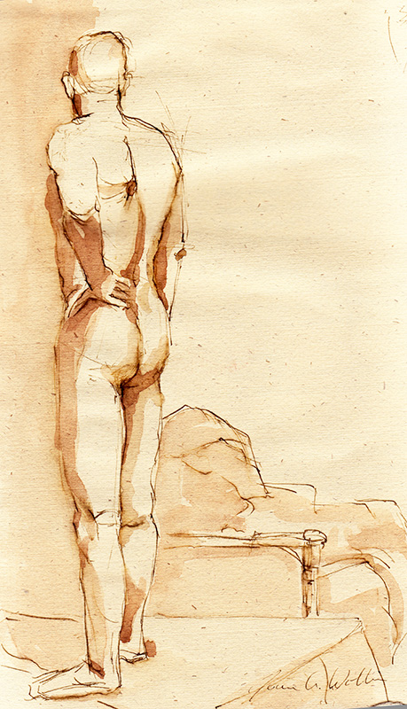 Standing Male Nude, pen and ink with ink wash
