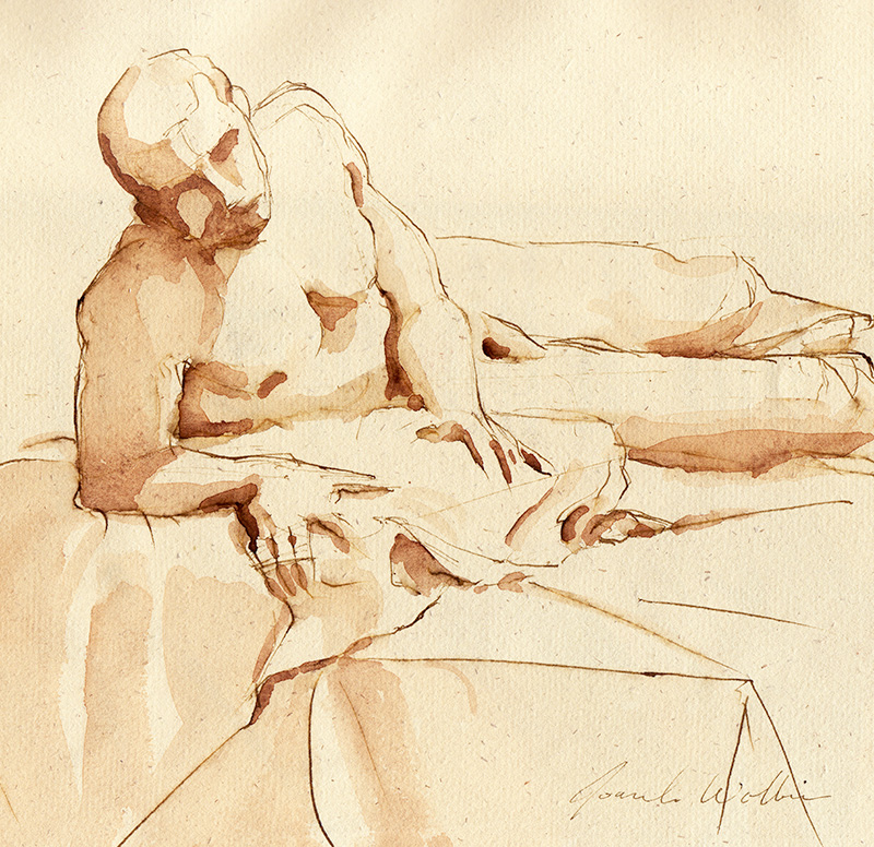 Male Nude, pen and in with ink wash