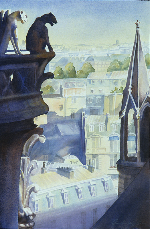 View Over Paris, watercolor
