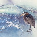 Winter Heron, original watercolor