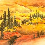 Indian Peaks Fall Color is a pen and ink with watercolor