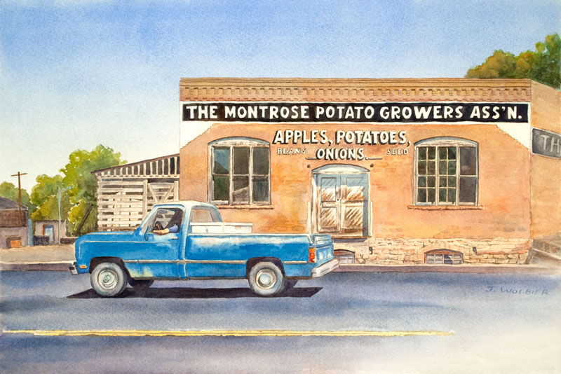 Montrose, CO is a pen and ink with watercolor