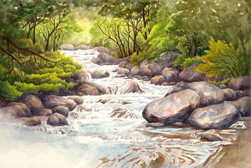 North Boulder Creek is a pen and ink with watercolor