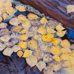 Autumn Aspen Leaves is a pen and ink with watercolor