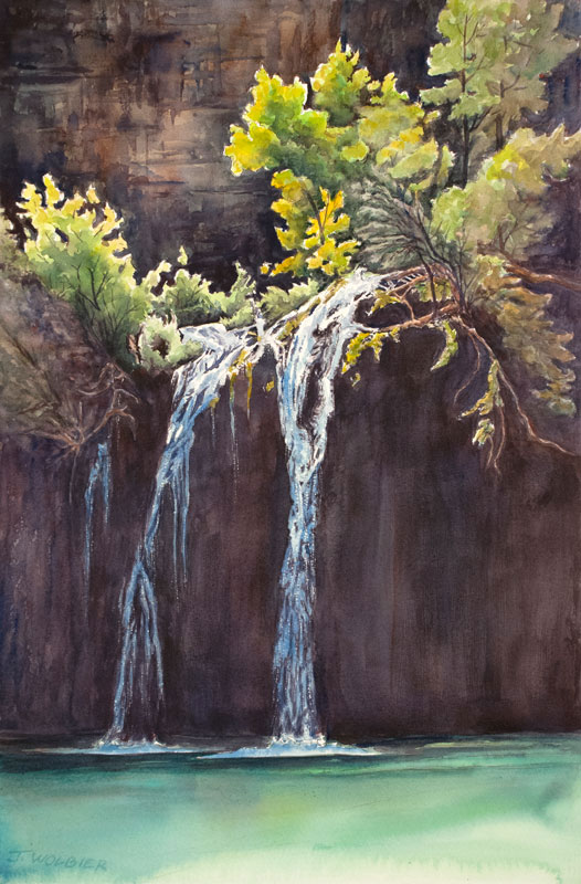Hanging Lake is a pen and ink with watercolor
