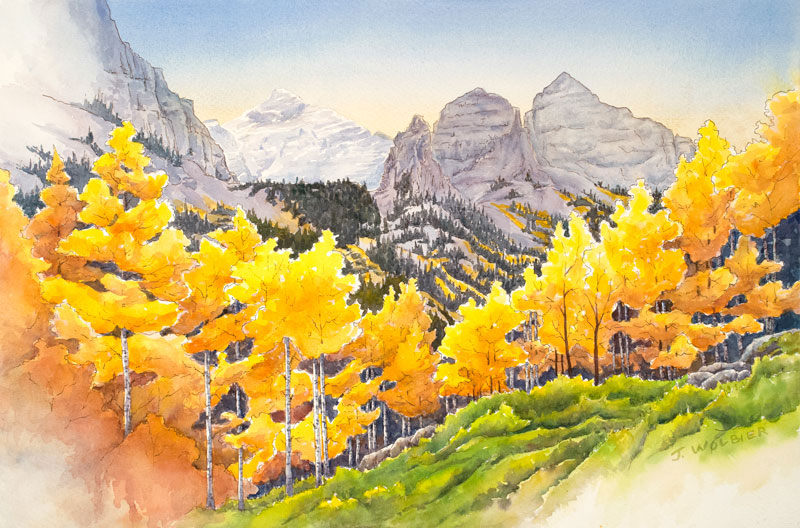 Maroon Bells Trail is a pen and ink with watercolor