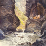 Box Canyon Ouray is a pen and ink with watercolor