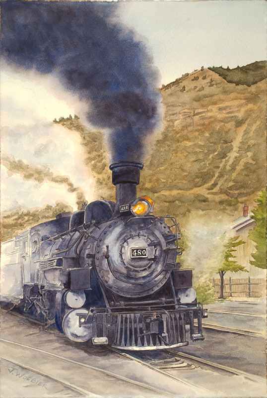 Engine 480 is a pen and ink with watercolor