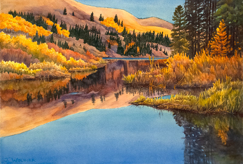 Lower Cataract Lake is a pen and ink with watercolor.