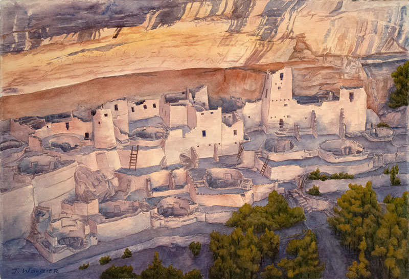 Cliff Palace, Mesa Verde is a pen and ink with watercolor.